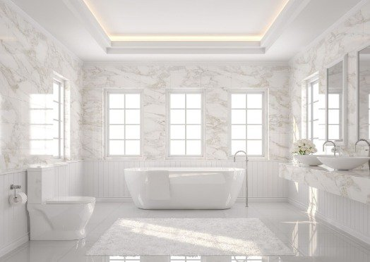 tiling in a white and bright bathroom at Mitcham Tilers
